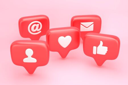 Group of social media notifications with heart, thumbs up, letter and user pic icon. 3D illustration 写真素材