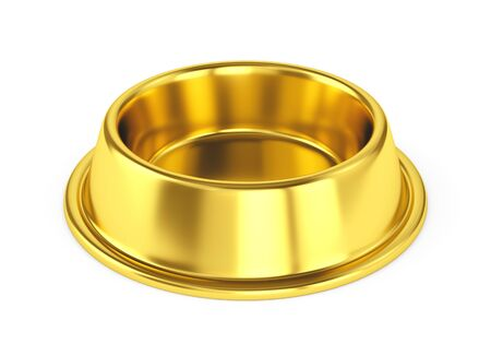 Golden pet bowl for dogs or cats isolated on white background. 3D illustratin