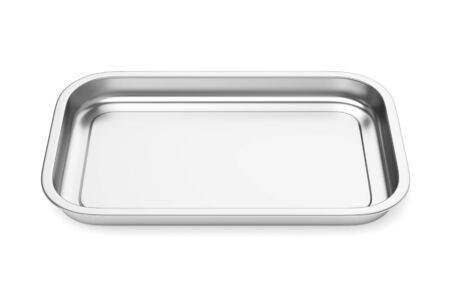 Stainless steel baking food tray isolated on white background. Front view. 3D illustration