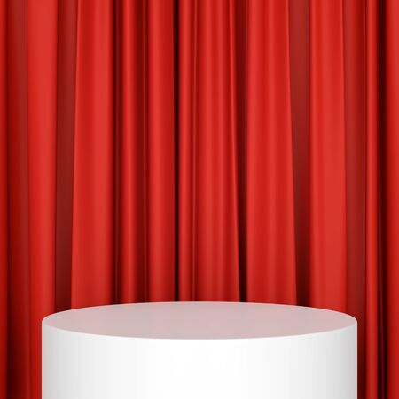 Abstract white cylinder product display stage podium with red curtains background. 3D illustration