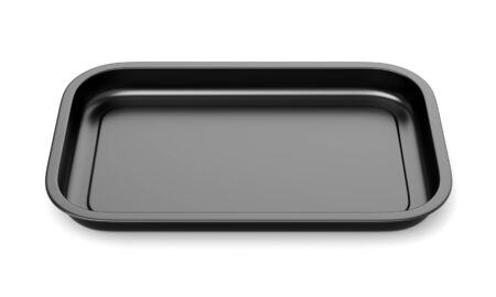Painted stainless steel baking food tray isolated on white background. Front view. 3D illustration