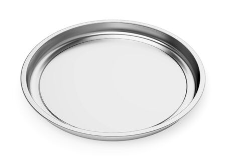 Stainless steel round baking food tray isolated on white background. Front view. 3D illustration