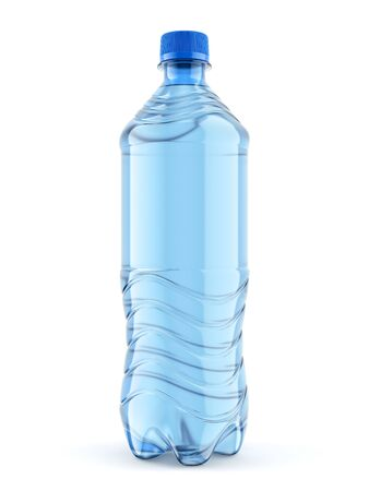Medium size plastic bottle of still water with blue cap isolated on white background. Front view close-up. 3D illustration