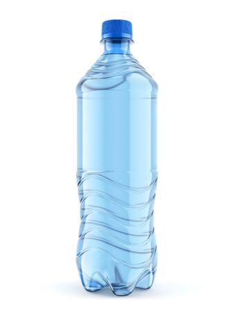 Botella de plástico de tamaño mediano de agua sin gas con tapón azul aislado sobre fondo blanco. Primer plano de la vista frontal. Ilustración 3D