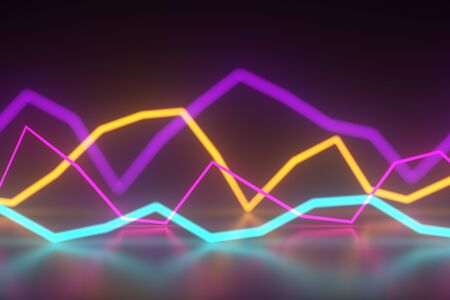 Abstract glowing color sound wave shaped neon lines on dark background. 3D illustration 写真素材