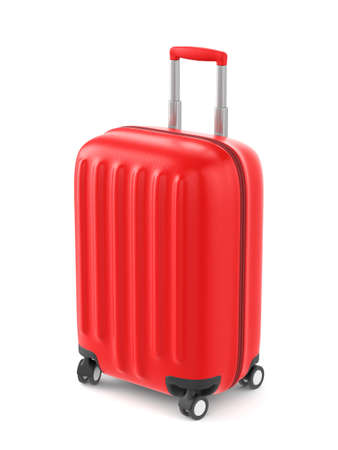 Red plastic suitcase with wheels and retractable handle isolated on white background. 3D illustration