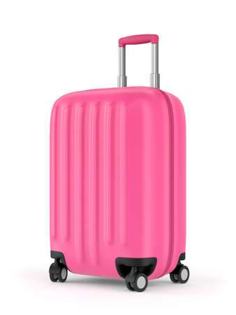 Pink plastic suitcase with wheels and retractable handle isolated on white background. 3D illustration