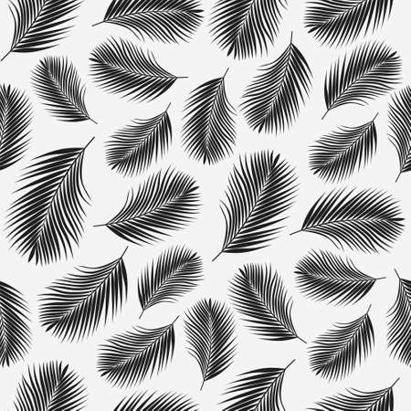 Black tropical palm leaves texture on white backdrop. Seamless vector background. Botanical illustration Vektorové ilustrace