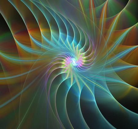 espiral: Gran concha en espiral extracto fondo negro fractal Foto de archivo