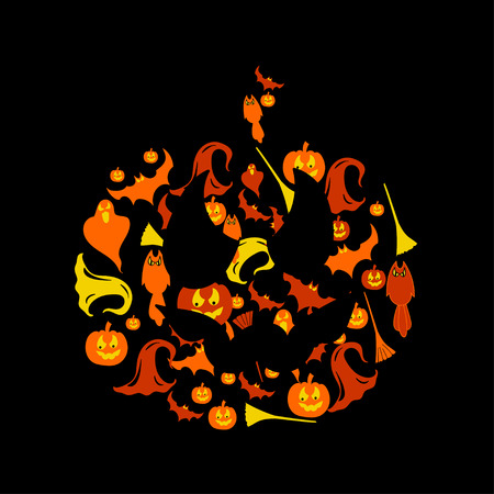 wicked set: Halloween icons set 6 colorful illustrations on a pumpkin background