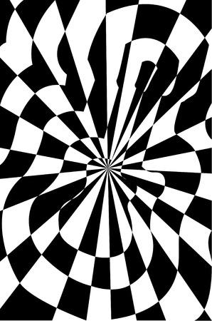 optical illusion: Drawing handmade guitar, optical illusion, black and white, vector illustration