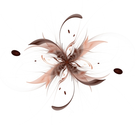 sharp curve: Abstract fractal flower ribbon glossy beige sharp petals