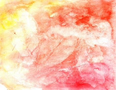 smirch: Watercolor abstract textural background handmade. Crumpled paper, leaves, spray