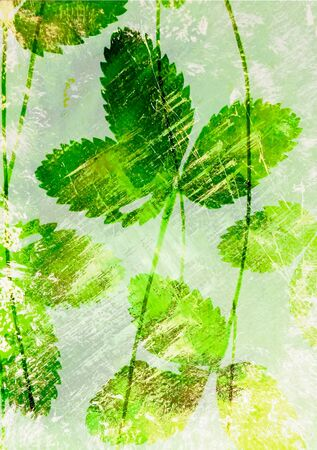 slur: Abstract watercolor background handmade strawberry leaves. Stock Photo