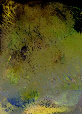 slur: Abstract watercolor background handmade. Mixed media background. Crumpled paper, leaves, spray