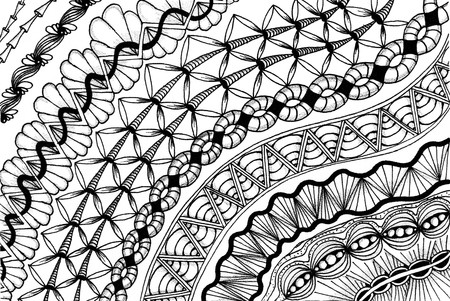 meditative: Zentangle - meditative drawing. Graphic patterns. Drawing lines Stock Photo