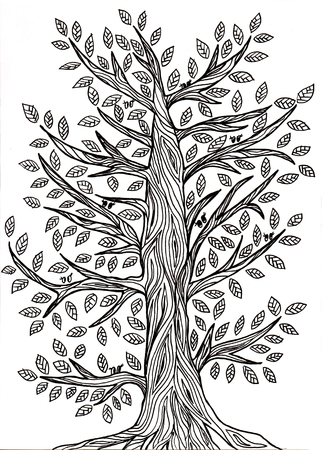 handmade graphic texture: Handmade graphic drawing of a tree with leaves. Wood texture. Sly residents of the tree. It is seen only his eyes