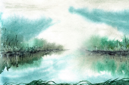 lake shore: Watercolor landscape Lake before sunrise. Forest on the shore, reflection, clouds Stock Photo