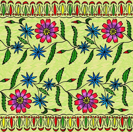 pictorial art: Seamless floral hand-drawing gouache. Bright cheerful colors Stock Photo