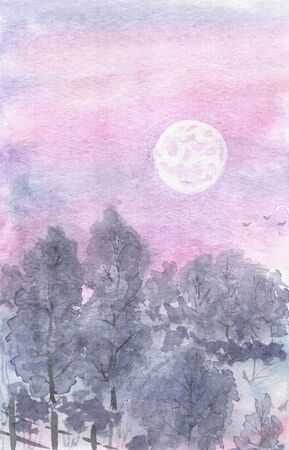 moonlit: Watercolor landscape moonlit night, lilac sky, winter forest