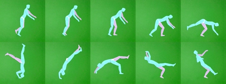 tumbling: Paper applique. Movement men. Tumbling sports. Manual cutting parts. Moving pictures Stock Photo