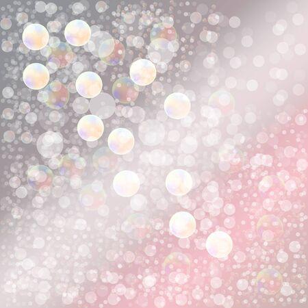 dandelion snow: Background pastel abstract - Soap bubbles - Bokeh effect - Translucent circles. Illustration