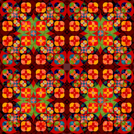 symmetrical: Square flower pattern symmetrical - Bright background -  Seamless.