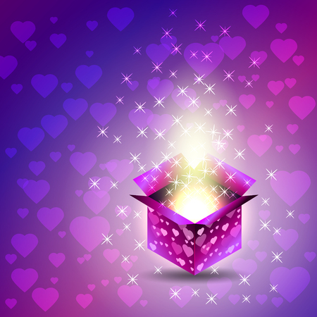 open flame: Gift box. Valentines Day. Heart - Stars - Magical glow. Blue and purple tones