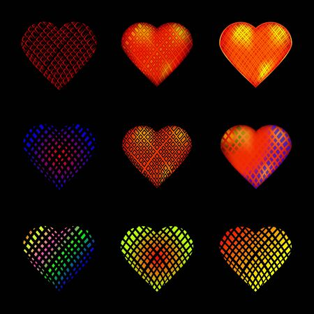 multicolored: Set of 9 hearts. Valentines Day. Pattern of mesh. Bright, multi-colored Illustration