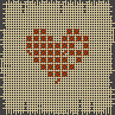 punto de cruz: Heart shape embroidery. Cross-stitch, hand-made. Valentines day Vectores