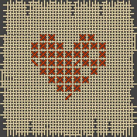 punto de cruz: la forma del bordado del coraz�n. Punto de cruz, hechos a mano. D�a de San Valent�n