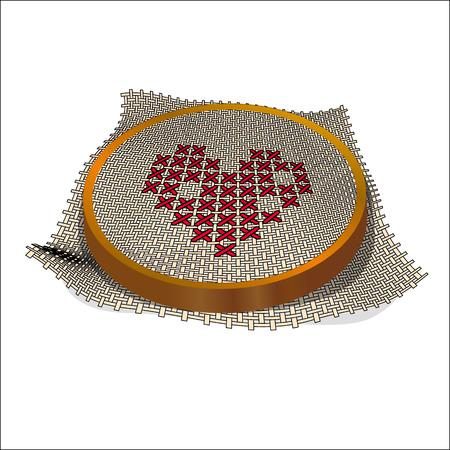 punto de cruz: bastidor de bordado bordado del coraz�n. Punto de cruz, hechos a mano. D�a de San Valent�n