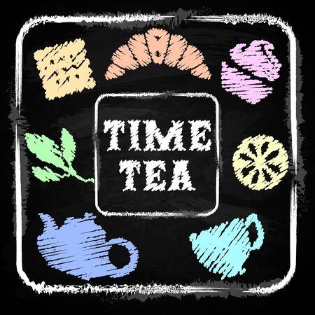 lunch room: Chalk board - Menu for cafe, restaurant - Time tea