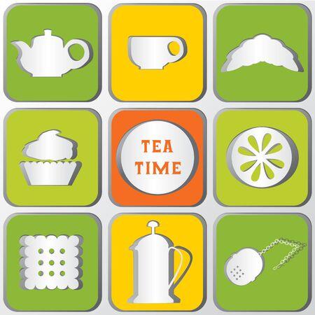 discreto: Iconos del tiempo del té. Conjunto de 9 iconos. Efecto de las sombras. Las figuras de papel.