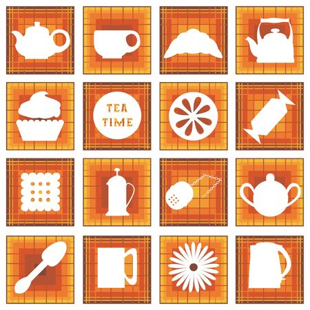 strainer: Set of 16 icons. Tea time. Brown tones. In square