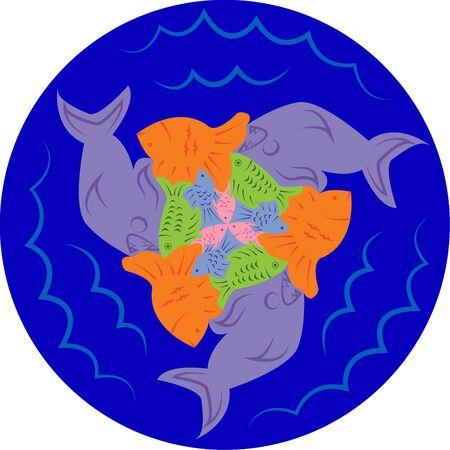 escher: Puzzles of fish. Escher style. Symmetrical round pattern