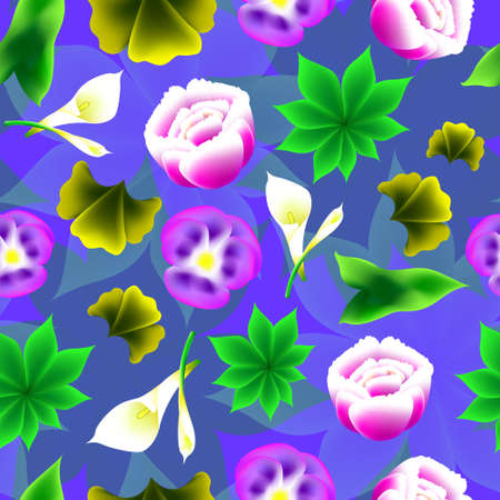 multi layered: Seamless floral background. Bright, volume shape. Violet - peony - calla lilies