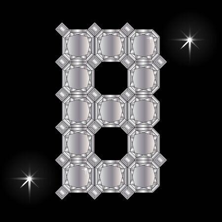 faceting: Metal letter B. Faceting gemstone. Geometric polygonal shapes