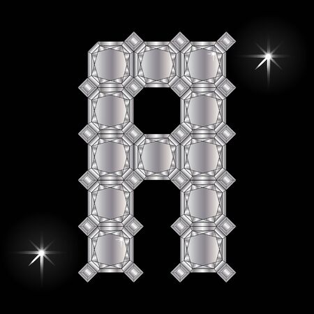 faceting: Metal letter A. Faceting gemstone. Geometric polygonal shapes