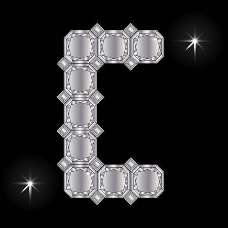 faceting: Metal letter C. Faceting gemstone. Geometric polygonal shapes Illustration