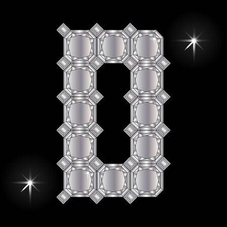 faceting: Metal letter D. Faceting gemstone. Geometric polygonal shapes Illustration