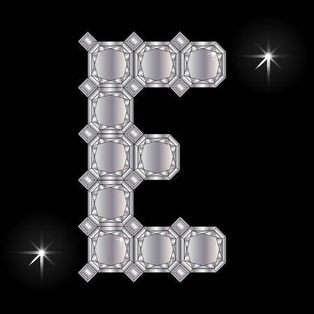 faceting: Metal letter E. Faceting gemstone. Geometric polygonal shapes