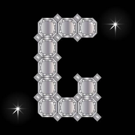 faceting: Metal letter G. Faceting gemstone. Geometric polygonal shapes