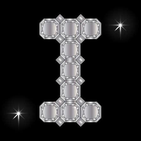 faceting: Metal letter I. Faceting gemstone. Geometric polygonal shapes