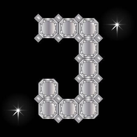 faceting: Metal letter J. Faceting gemstone. Geometric polygonal shapes