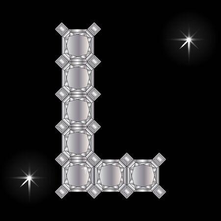faceting: Metal letter L. Faceting gemstone. Geometric polygonal shapes