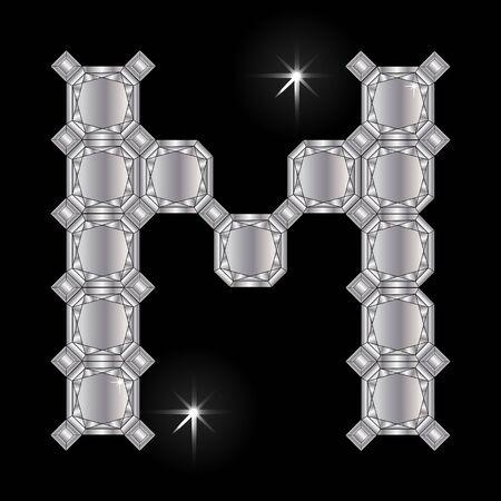 faceting: Metal letter M. Faceting gemstone. Geometric polygonal shapes