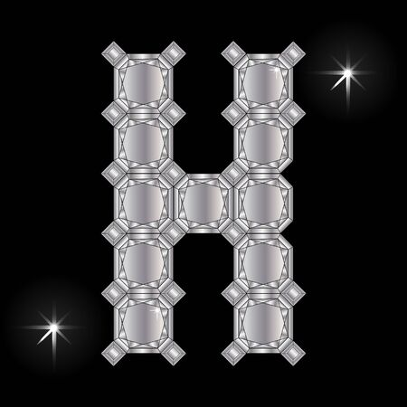faceting: Metal letter H. Faceting gemstone. Geometric polygonal shapes Illustration
