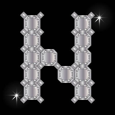 faceting: Metal letter N. Faceting gemstone. Geometric polygonal shapes