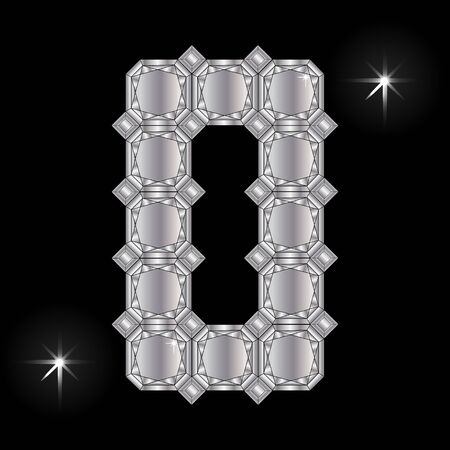 faceting: Metal letter O. Faceting gemstone. Geometric polygonal shapes